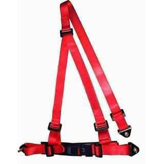 Buckle Style Red Racing Safety Belts With Bolts / 3 Point Retractable Seat Belts