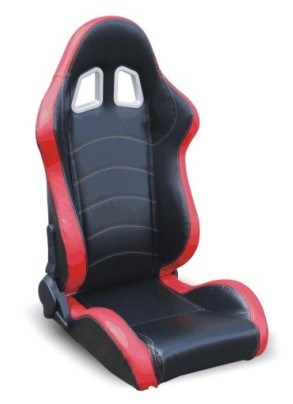 Red & Black PVC Leather Sport Racing Seats With Built - In Seat Belt Harness Holes