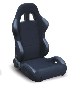 Black Sport Racing Seats With Comfortable Injection - Molded Foam And Woven Upholstery
